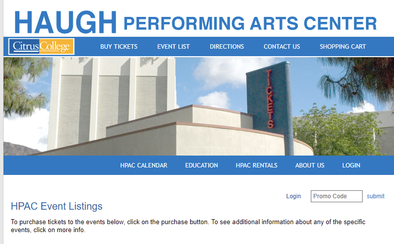 Picture of the Haugh Performing Arts Center Events Page