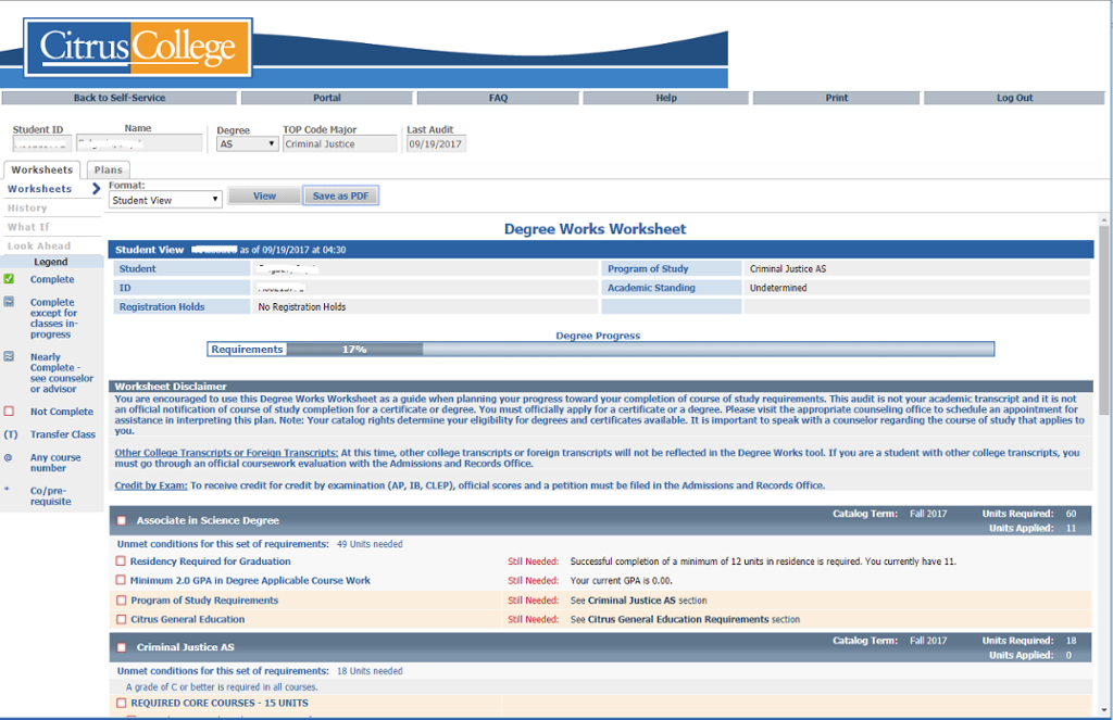 Image of the DegreeWorks Screen