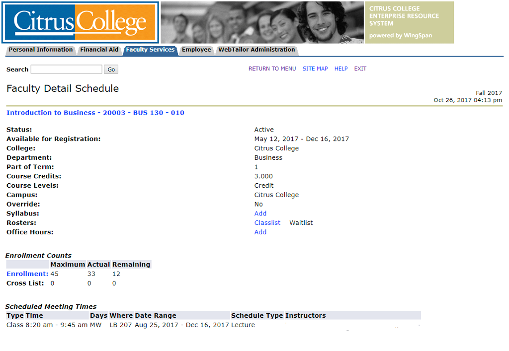 Image of Faculty Detail Schedule Screen