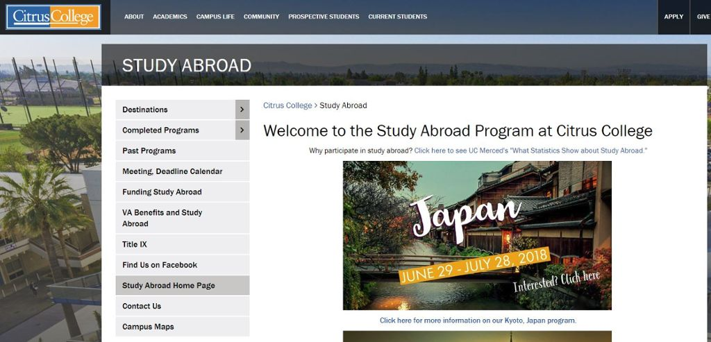Study Abroad Web Site